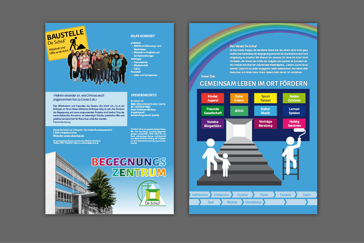 Gestaltung und Druck Imageflyer, Faltblatt (6 Seiten) für Begegnungszentrum De Schul' Krumhermersdorf