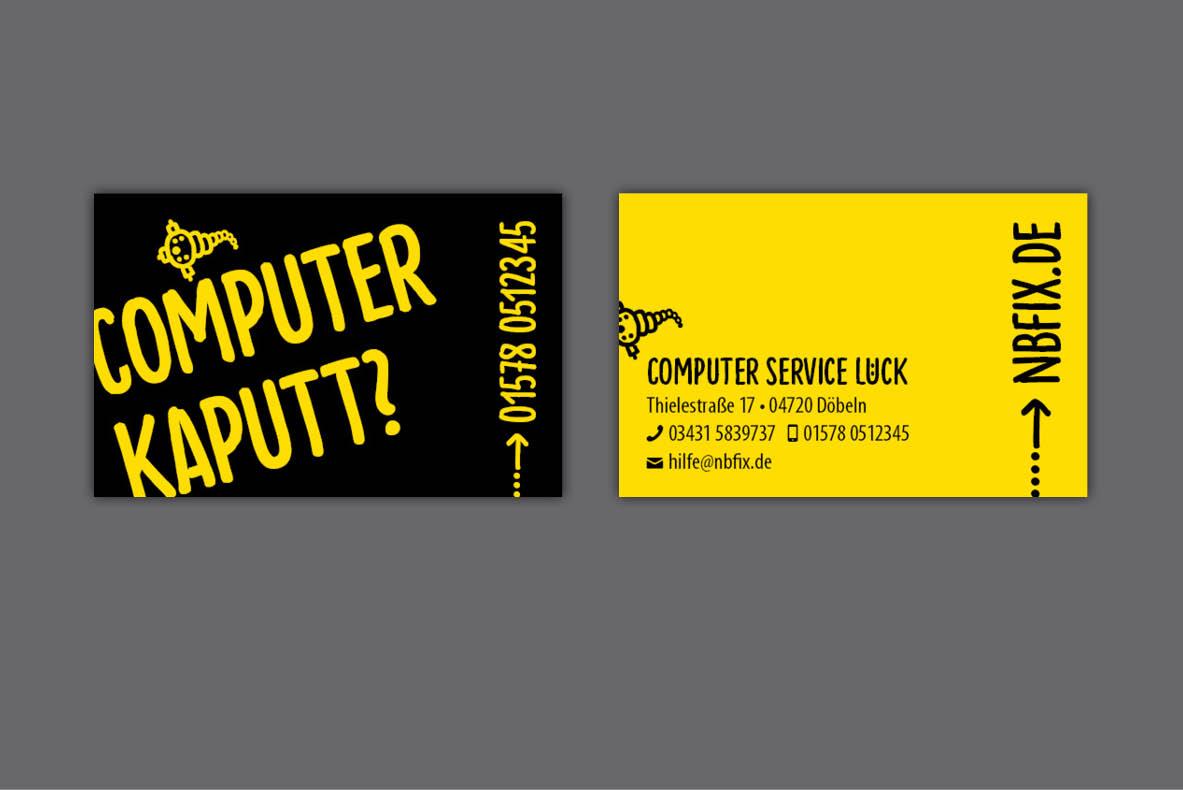 Gestaltung und Druck von Visitenkarten für Computerservice Dietmar Lück, Döbeln