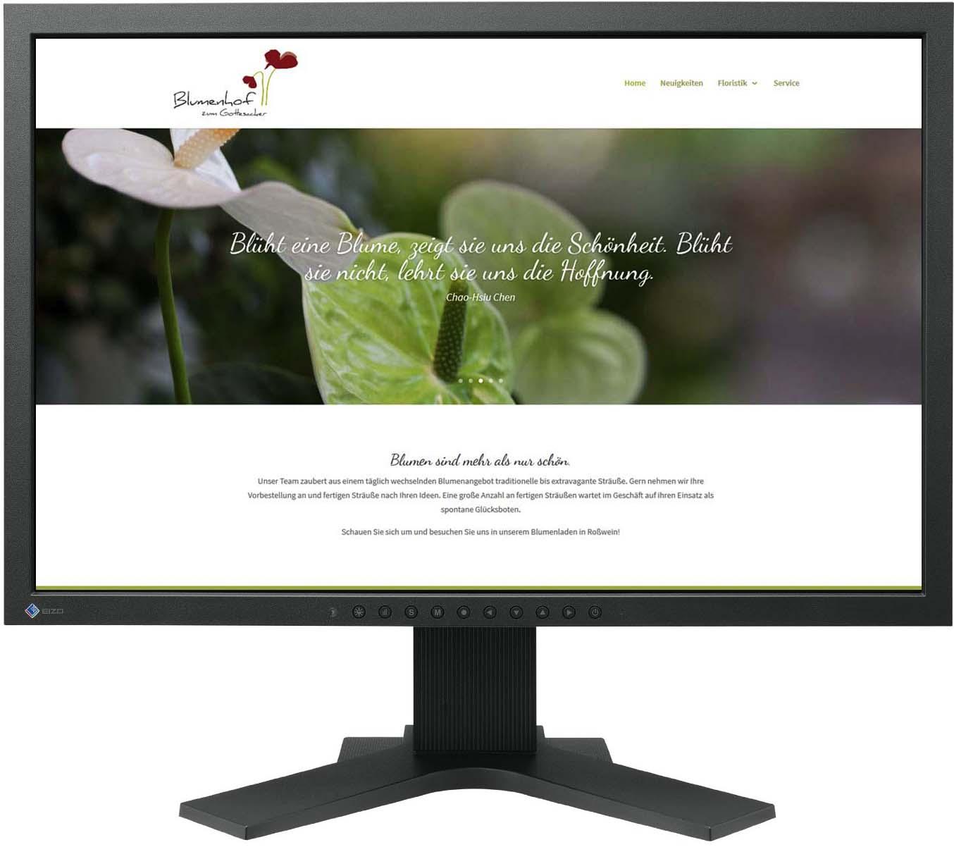 Gestaltung Website / Homepage für Blumenhof zum Gottesacker, Anett Otto Roßwein