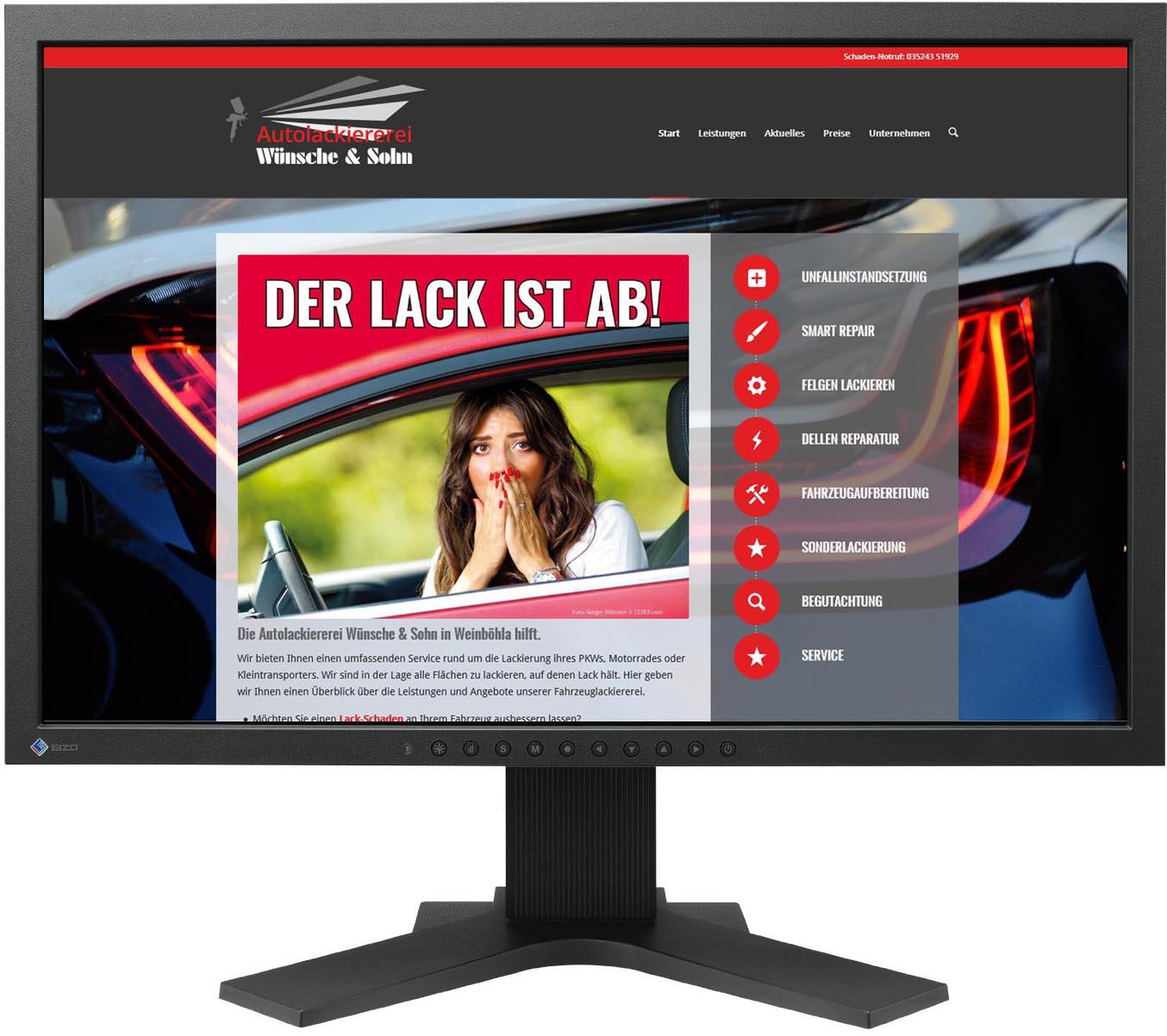 Gestaltung Website / Homepage für Lackiererei Wünsche, Weinböhla