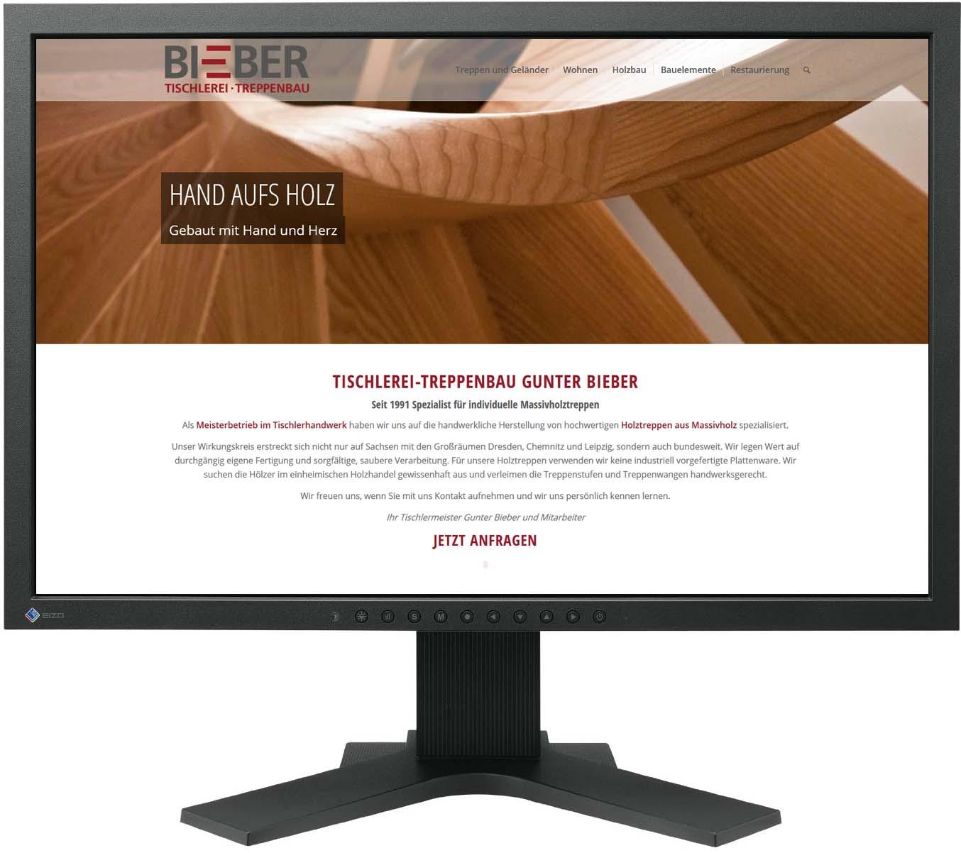 Gestaltung Website / Homepage für Tischlerei-Treppenbau Gunter Bieber, Striegistal