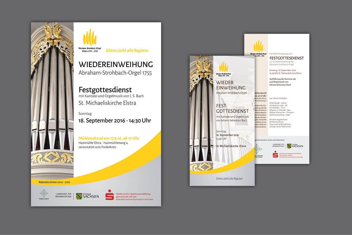 Gestaltung und Druck Plakate und Flyer zum Festgottesdienst zur Wiedereinweihung der Abraham-Strohbach-Orgel, St.-Michaeliskirche Elstra