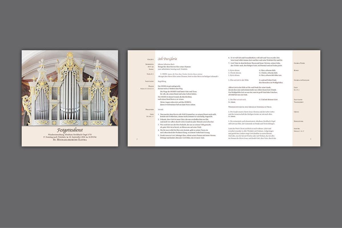 Gestaltung und Druck Programm (8 Seiten) zur Wiedereinweihung der Abraham-Strohbach-Orgel, St.-Michaeliskirche Elstra
