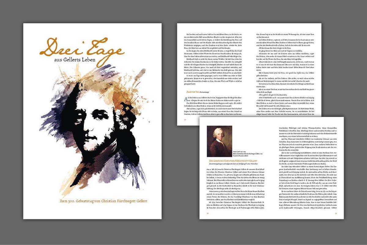 """Gestaltung und Druck Broschüre zum 300. Geburtstag C.F. Gellert, """"Drei Tage aus Gellerts Leben"""", 48 Seiten geheftet"""