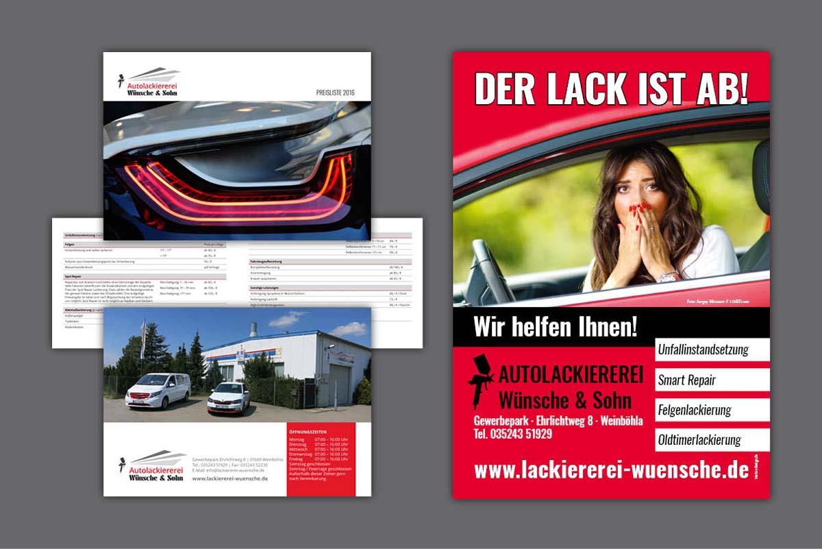 Gestaltung und Druck Faltblatt Preisliste und Kundenstopper für Autolackiererei Wünsche Weinböhla