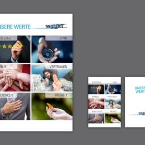 Visualisierung Firmen-Werte der Spedition Weber GmbH Himersdorf, großformatiger Druck auf Aluminiumplatte, Wertekärtchen aus Plastik
