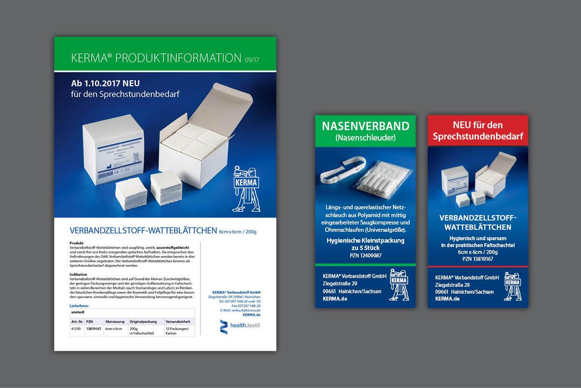 Werbeanzeigen und Produktflyer für KERMA Verbandstoff GmbH Hainichen