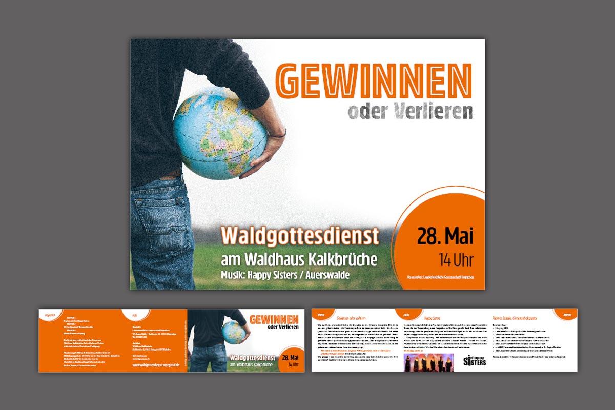 Gestaltung und Druck Plakat und Falzflyer (6 Seiten, Querformat) für Veranstaltungsreihe Waldgottesdienst Striegistal