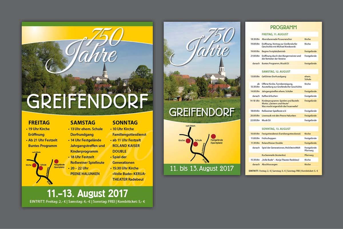 Gestaltung und Druck Plakate und Flyer zum 750-jährigen Dorfjubiläum Greifendorf