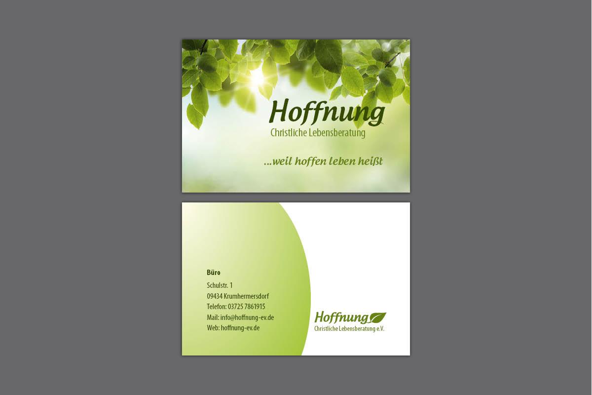 Gestaltung und Druck Visitenkarten für Hoffnung e.V.