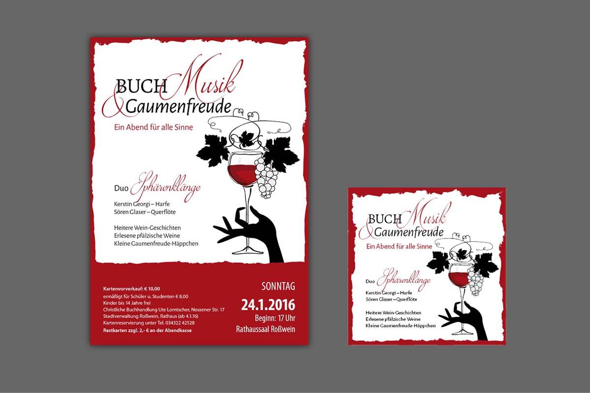 """Gestaltung und Druck Plakat und Flyer für Veranstaltungsreihe """"Buch, Musik und Gaumenfreude"""""""
