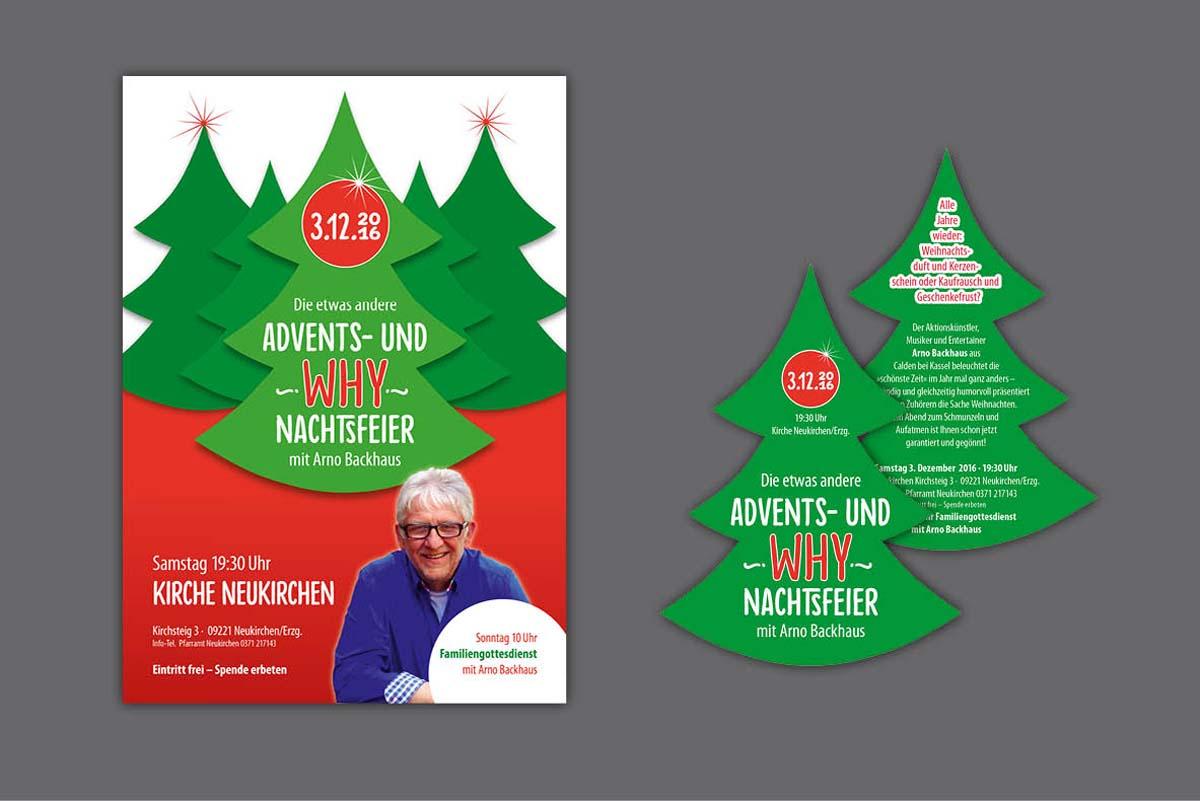 Gestaltung und Druck Plakate und gestanzte Flyer für Weihnachtsveranstaltung der KG Neukirchen mit Arno Backhaus