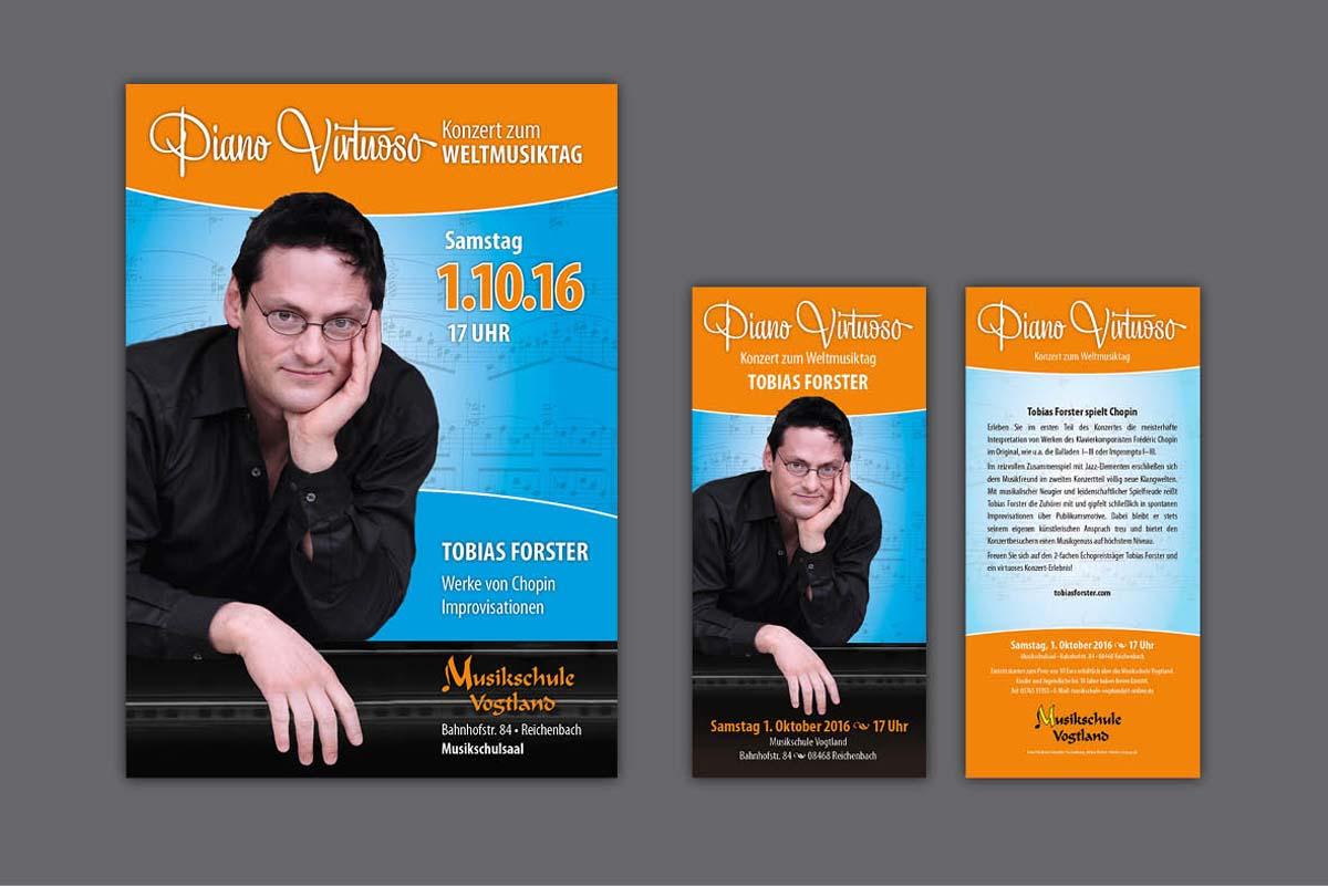 Gestaltung und Druck von Plakaten und Flyern für Konzert mit Pianist Tobias Forster