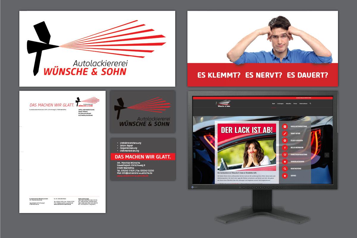 Corporate Design für Autolackiererei Wünsche Weinböhla: Logo, Briefpapier, Website, Visitenkarten, Flyer