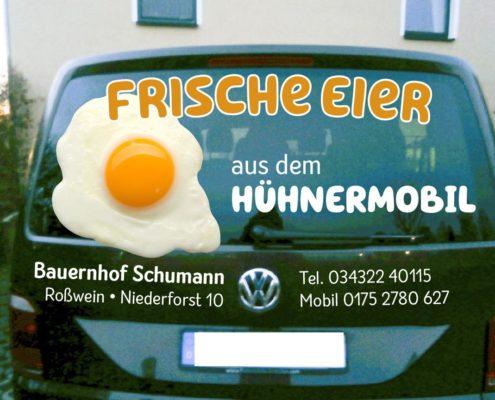 Fahrzeugbeschriftung Hühnermobil