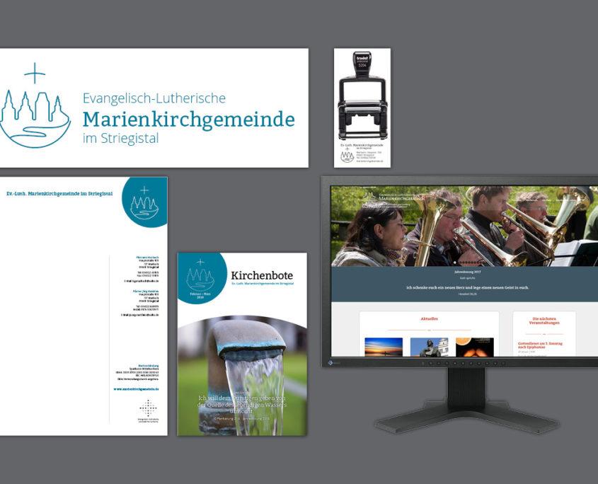 Corporate Design für Marienkirchgemeinde im Striegistal: Logo, Briefpapier, Website, Kirchenbote, Stempel