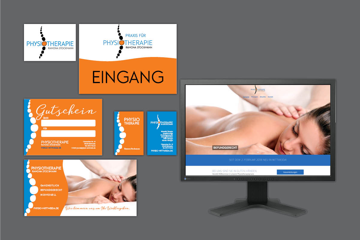 Gestaltung Corporate Design (Logo, Flyer, Visitenkarten, Website) für Physiotherapie Stockmann Mittweida