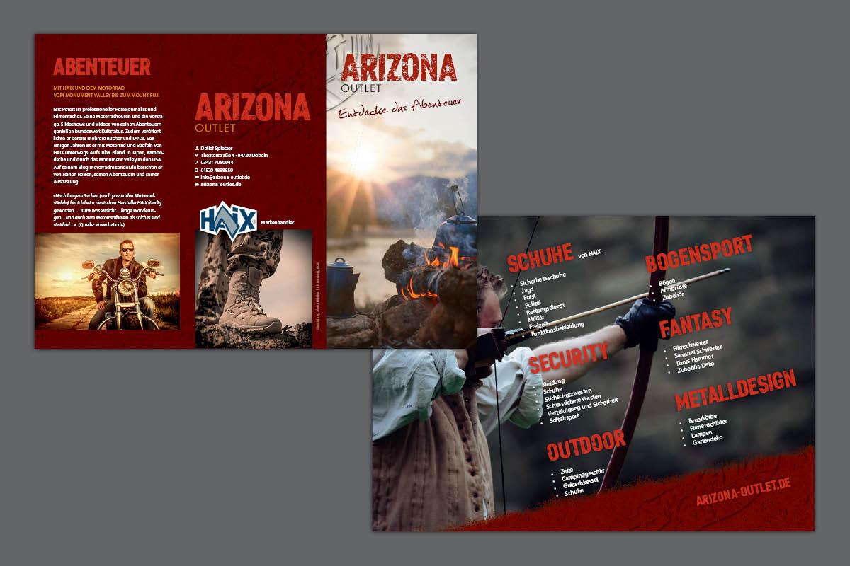 Gestaltung und Druck Imageflyer für Arizona Outlet Döbeln