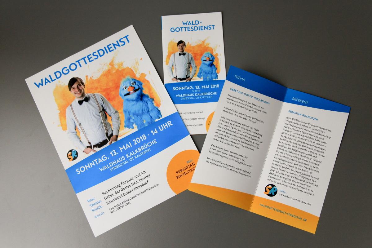 Gestaltung und Druck Plakate und Flyer zum Waldgottesdienst Striegistal