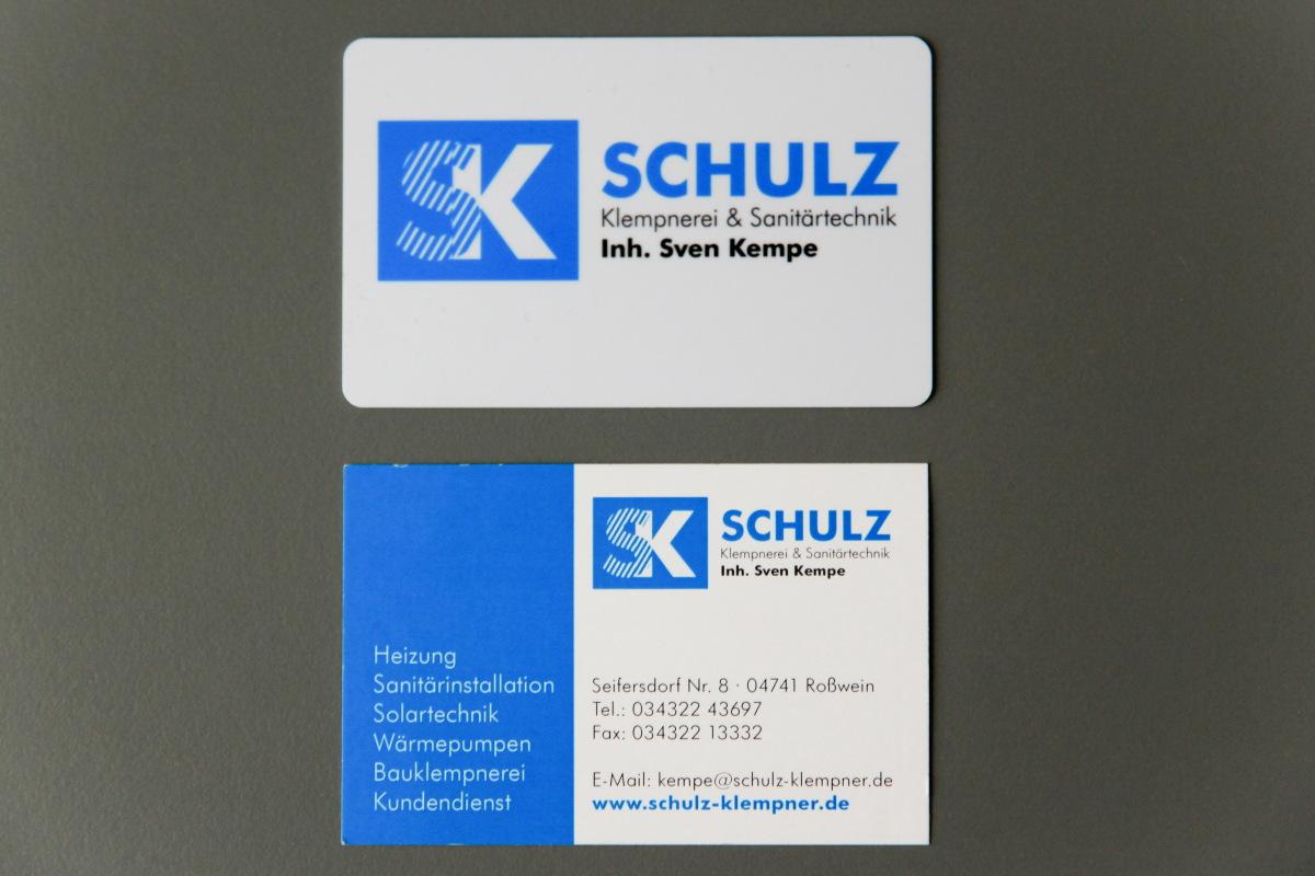 Visitenkarten aus Plastik und Karton für Klempnerei Schulz / Kempe