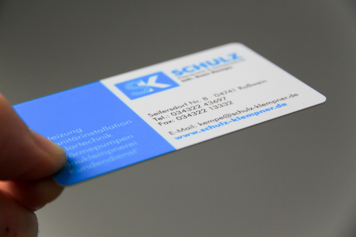 Visitenkarte aus Plastik für Klempnerei Schulz / Kempe
