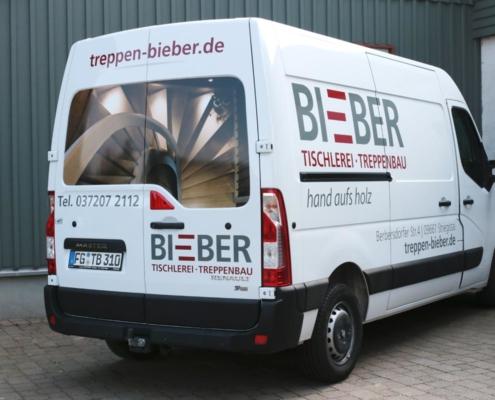 Gestaltung Fahrzeugbeschriftung für Tischlerei Bieber, Striegistal