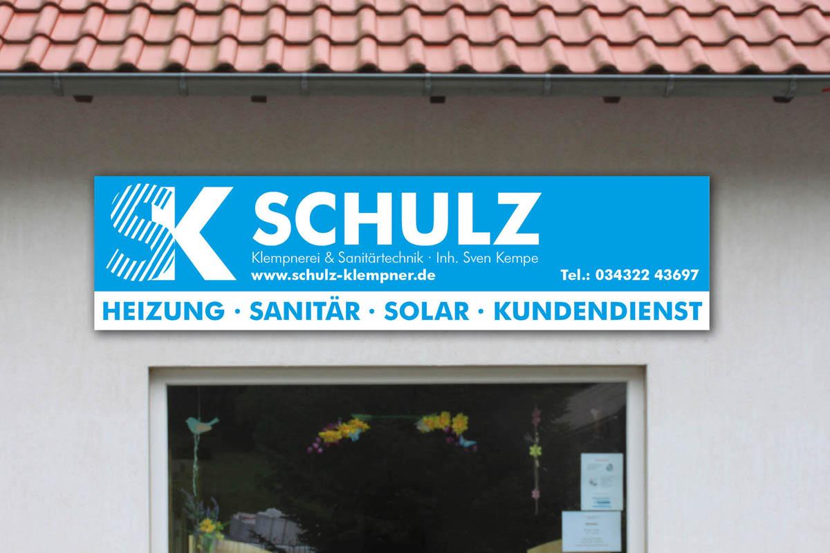 Gestaltung und Druck Firmenschild aus 6mm Aluverbundplatte für Klempnerei Schulz / Kempe Seifersbach-Roßwein