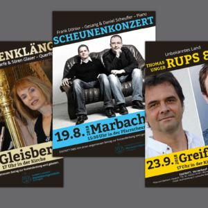 Gestaltung und Druck Plakate und Flyer für Konzertreihe der Marienkirchgemeinde im Striegistal