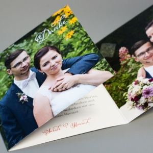 Gestaltung und Druck Dankeskarte Hochzeit, Klappkarte quadratisch 12x12 cm, 300g Munken Pure Designpapier