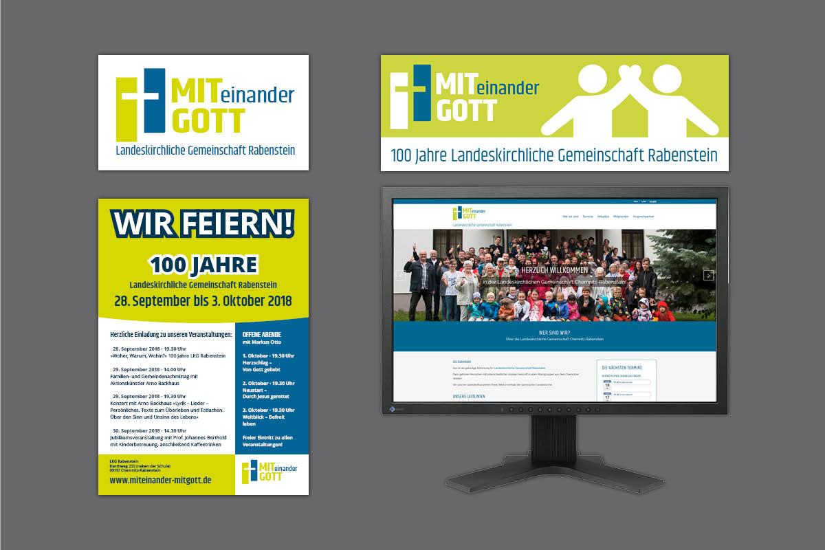 Gestaltung Corporate Design für 100-jähriges Jubiläum LKG Rabenstein, inkl. Logo und Website