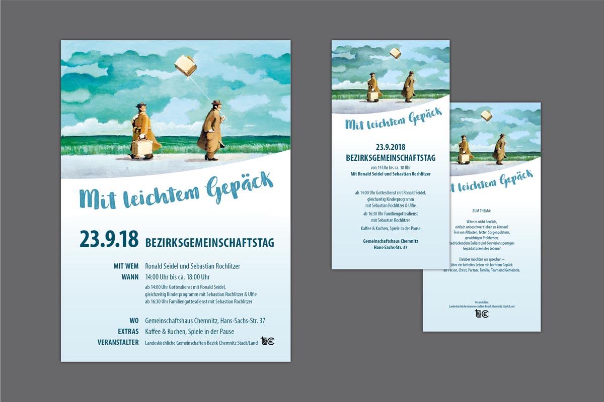 Gestaltung und Druck Plakat und Flyer für Bezirksgemeinschaftstag