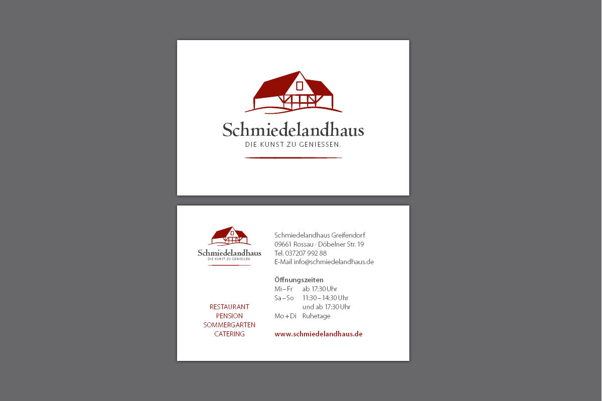 Gestaltung und Druck Visitenkarten für Schmiedelandhaus Greifendorf