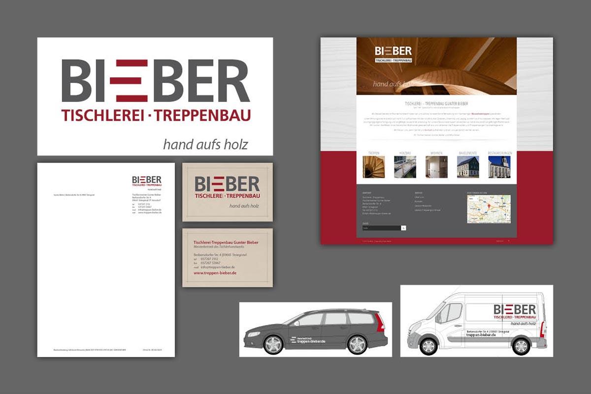 Corporate Design Tischlerei Bieber, Logo, Briefpapier, Visitenkarten, Fahrzeugbeschriftung, Website