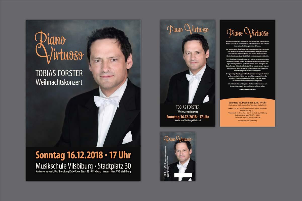 Gestaltung und Druck Plakate, Flyer und Eintrittskarten für Konzert Pianist Tobias Forster