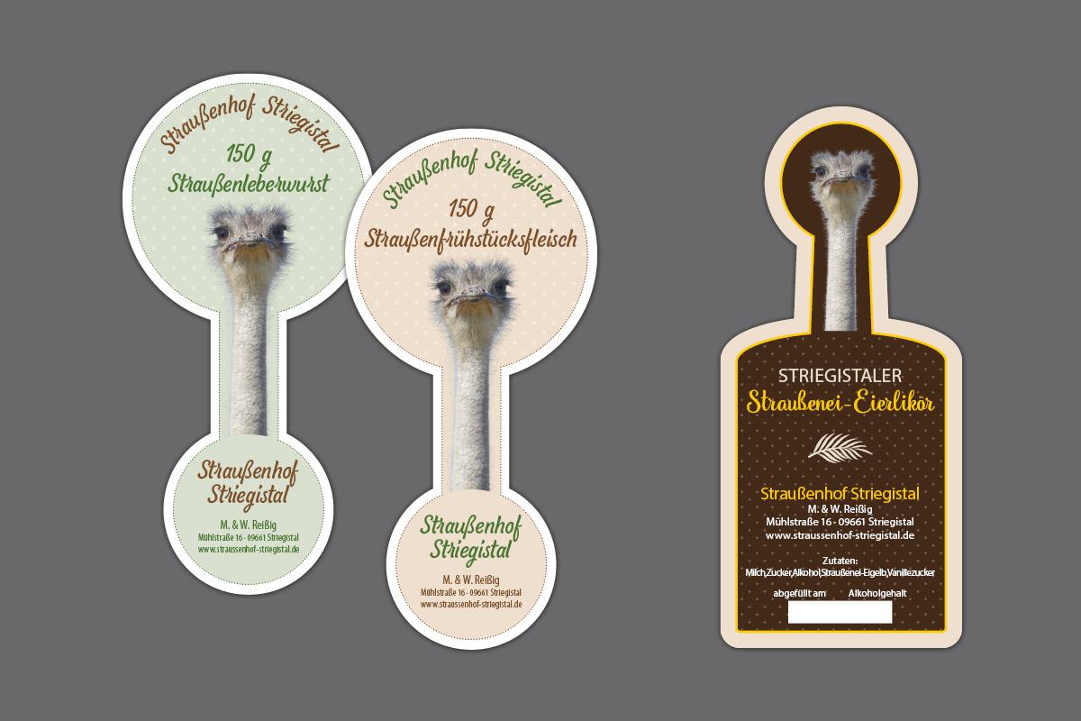 Etiketten Aufkleber für Wurstglas und Eierlikörflasche
