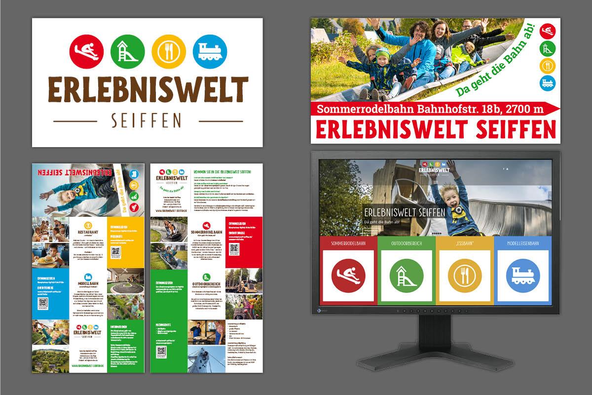 Corporate Design, Logo, Website, Drucksachen für Erlebniswelt Seiffen