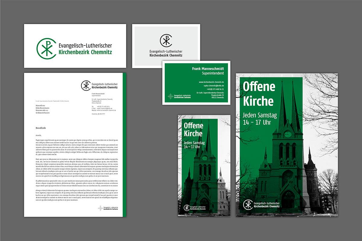 Corporate Design, Logo und Drucksachen Kirchenbezirk Chemnitz