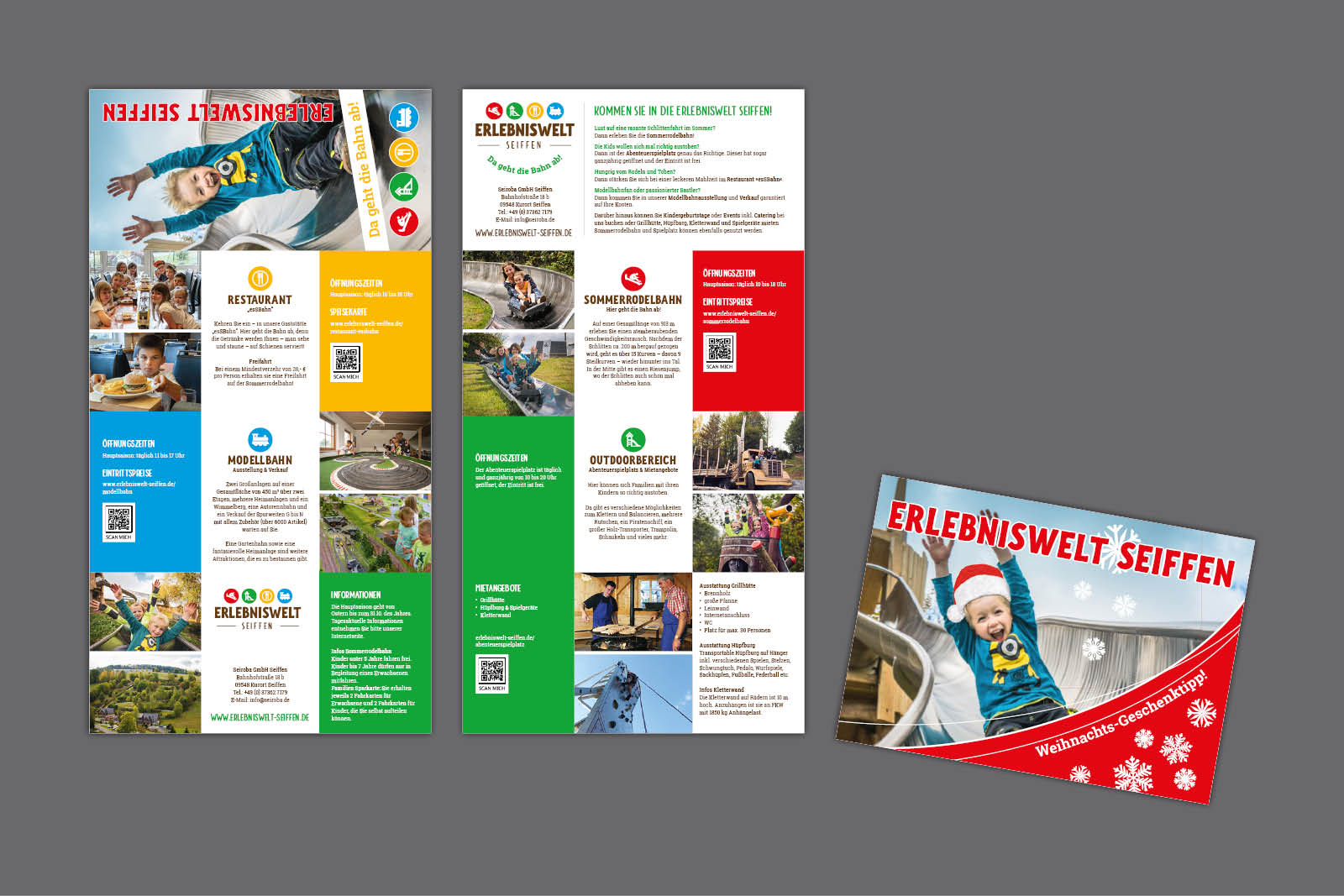 Imageflyer als 8-seitiges Faltblatt und Gutscheinkarte für Erlebniswelt Seiffen