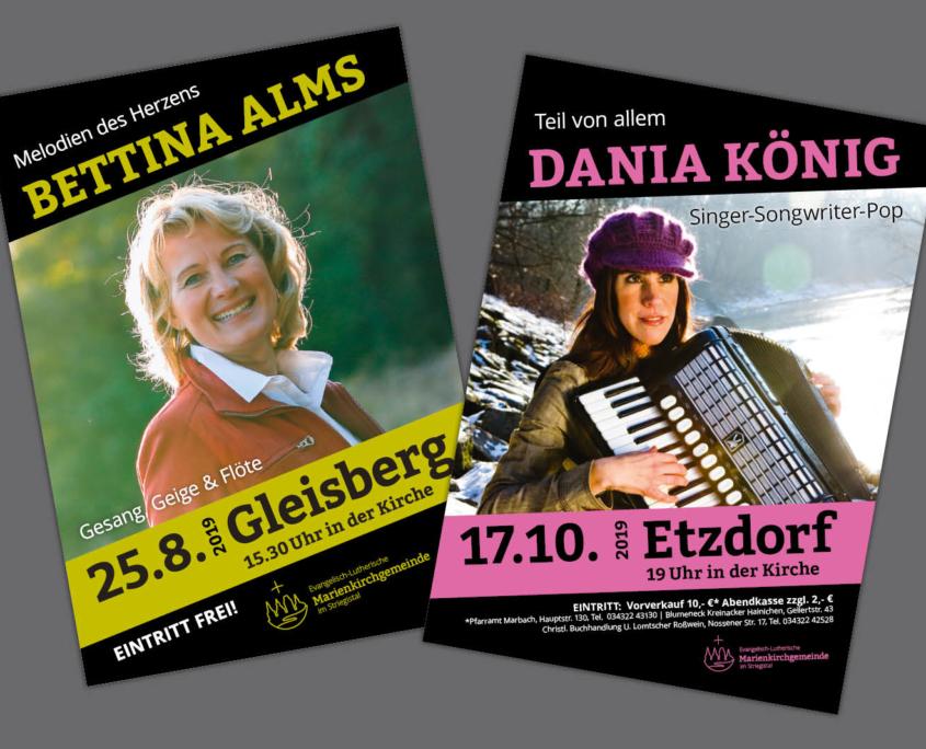 Plakate für Konzertreihe Marienkirchgemeinde