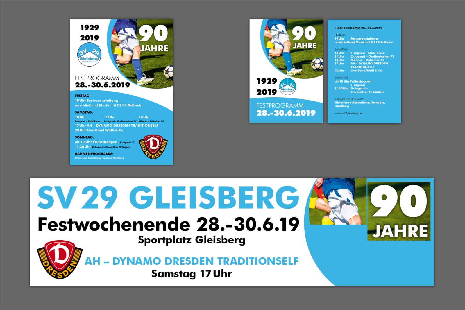 Banner, Plakate und Flyer für SV Gleisberg