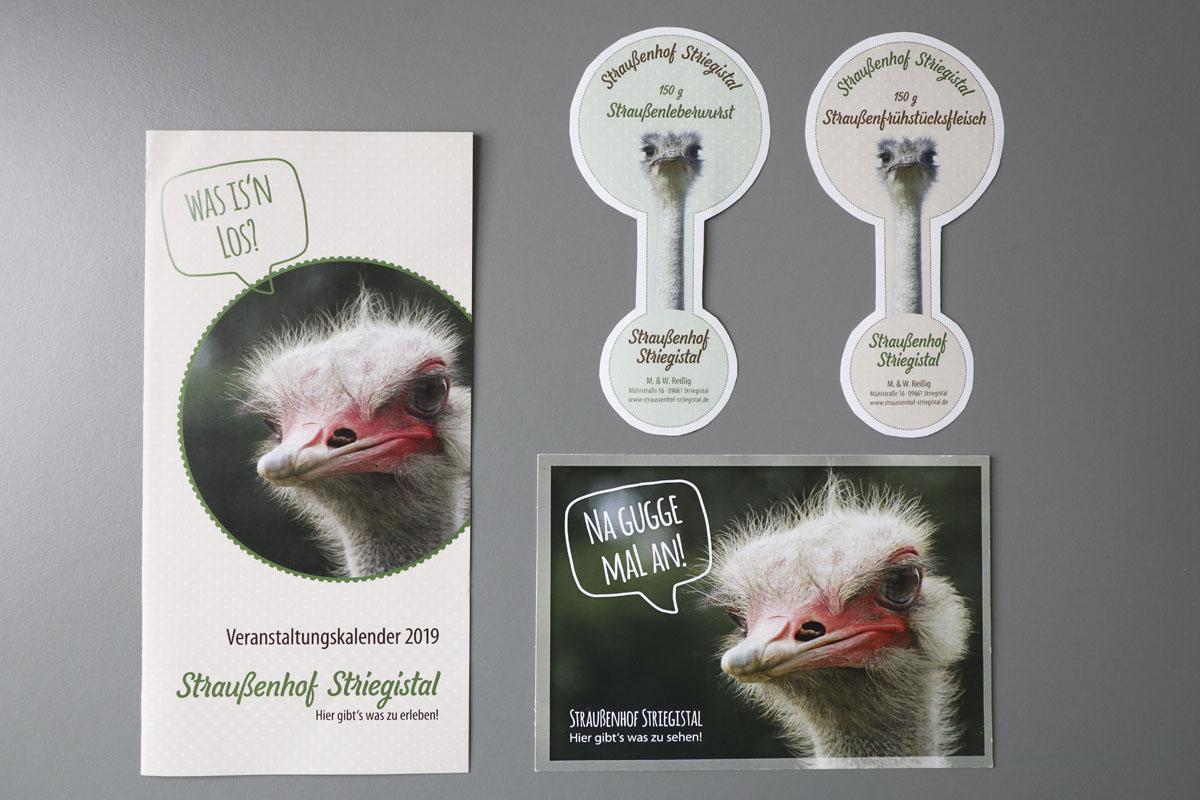 Etiketten, Flyer und Karte für Straußenhof Striegistal