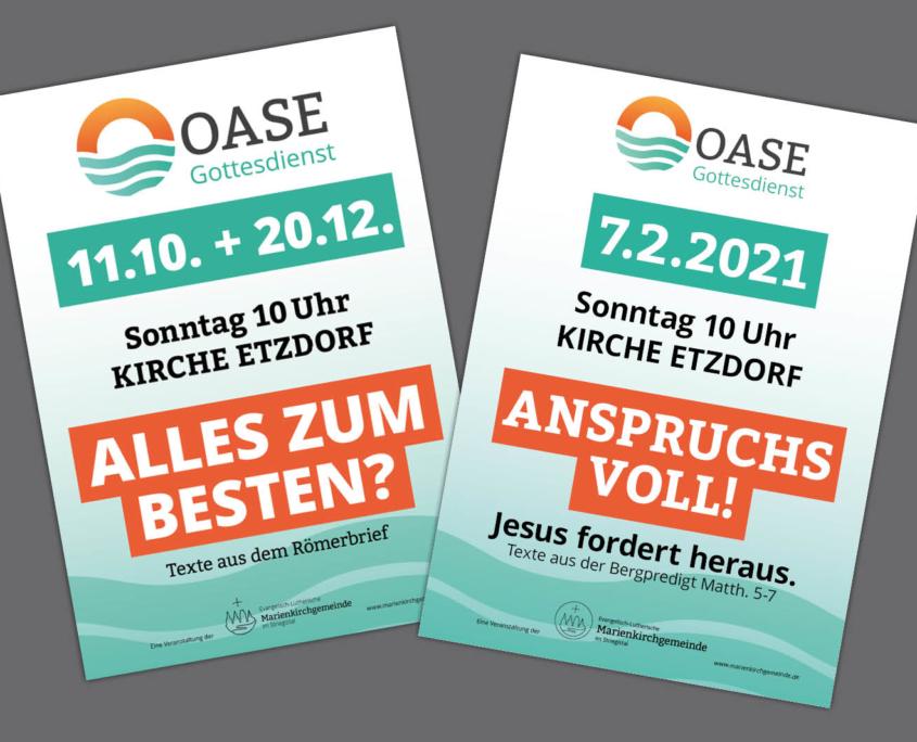 """Plakate für Gottesdienstreihe """"OASE"""" Marienkirchgemeinde"""
