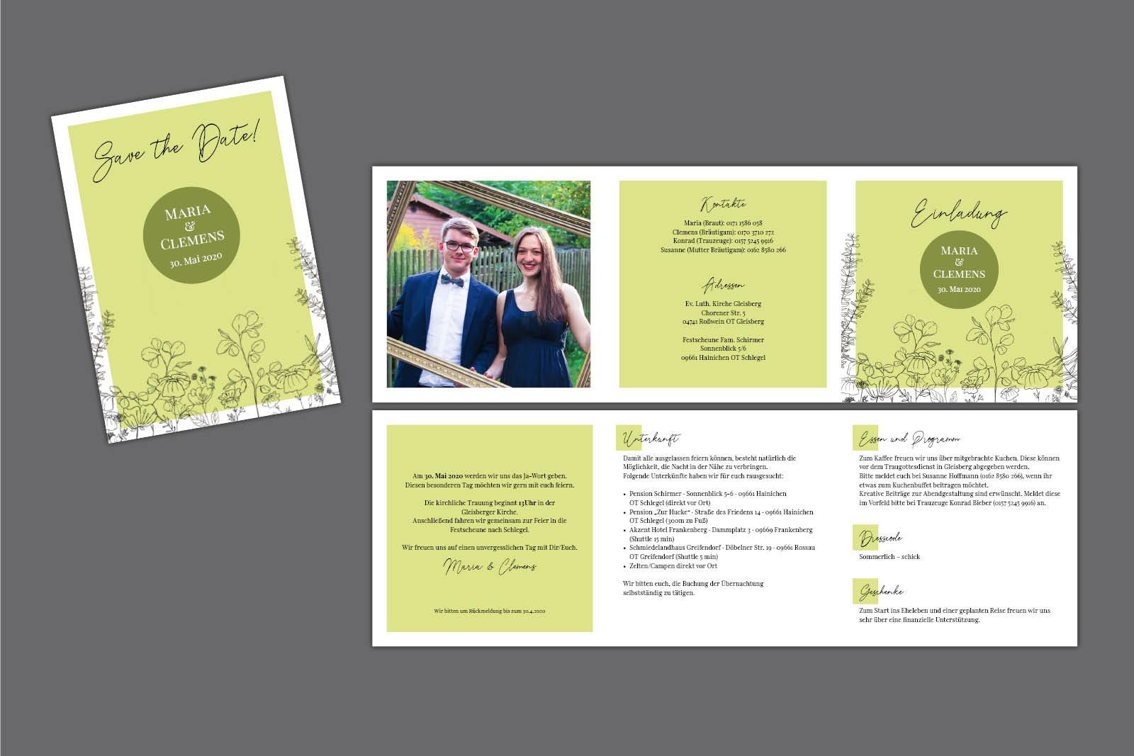 Save-the-Date Karte und Einladung Hochzeit Illustration Rebekka Rochlitzer