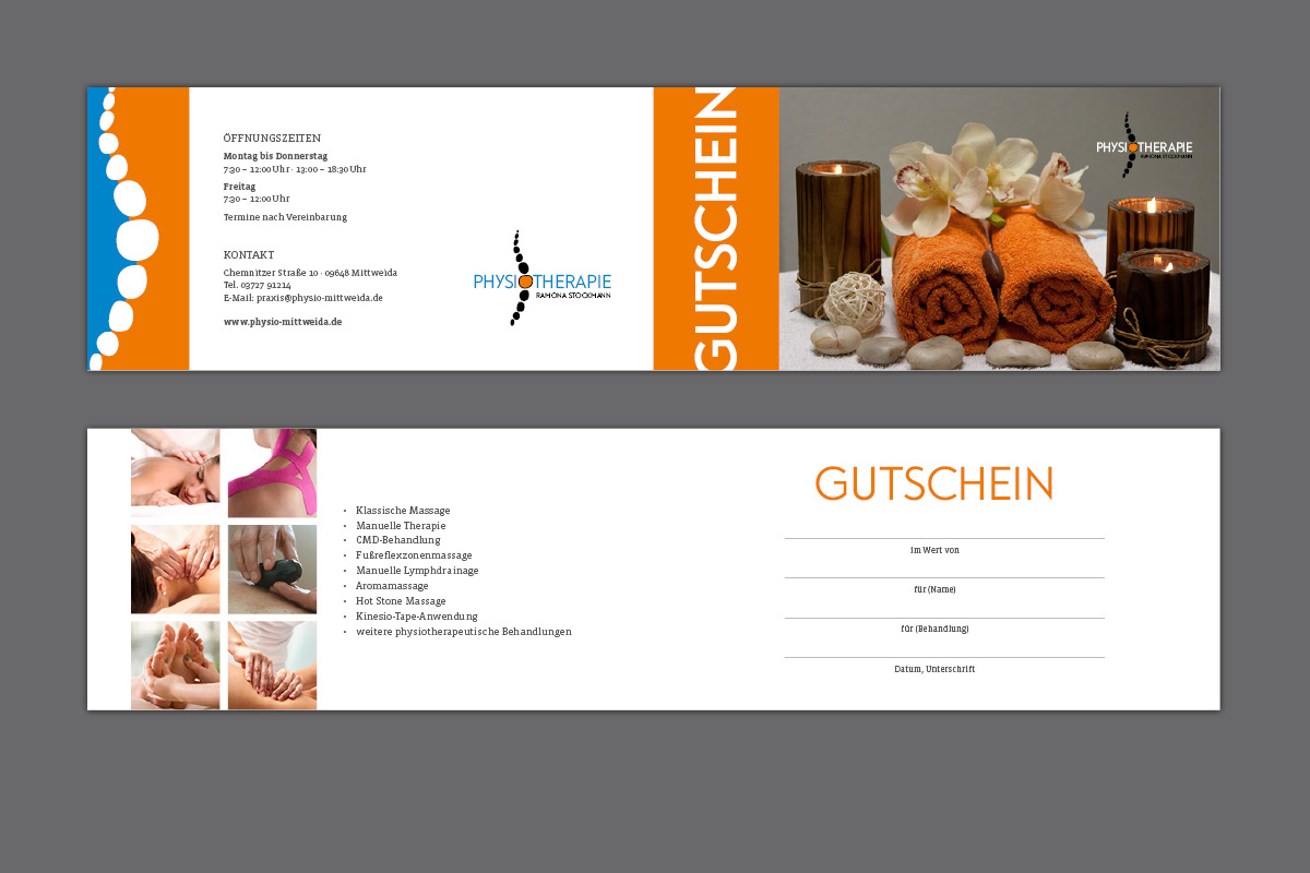 Gutschein Faltblatt DIN lang Querformat, 4-seitig