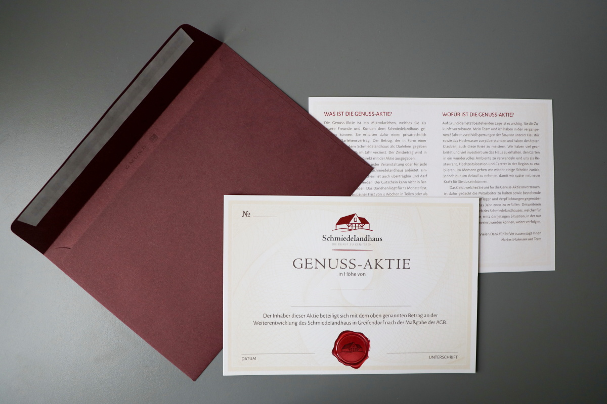 Genussaktie und Briefumschlag für Schmiedelandhaus, Original Gmund Colors