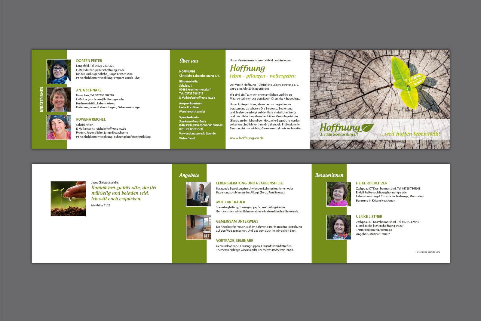 Imageflyer für Hoffnung eV, 6-seitiges Faltblatt DIN A6