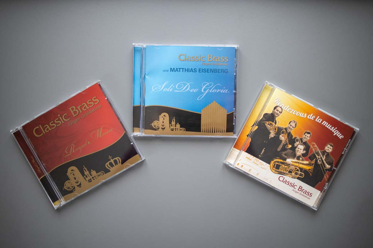 Gestaltung CD Cover, Booklet, Label für Classic Brass Jürgen Gröblehner