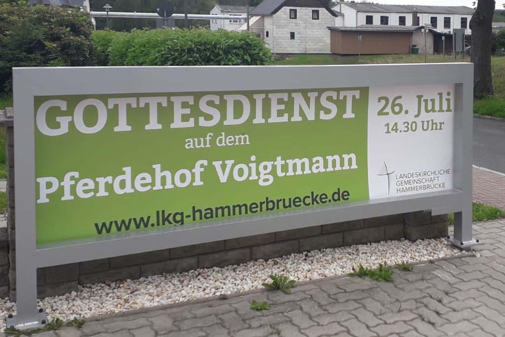 Außenwerbung PVC-Banner für LKG Hammerbrücke