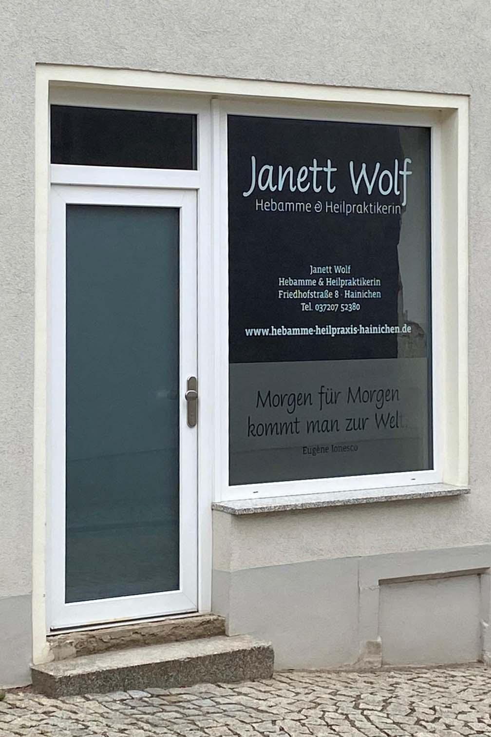 Schaufensterbeschriftung für Hebamme Janett Wolf (Gestaltung)