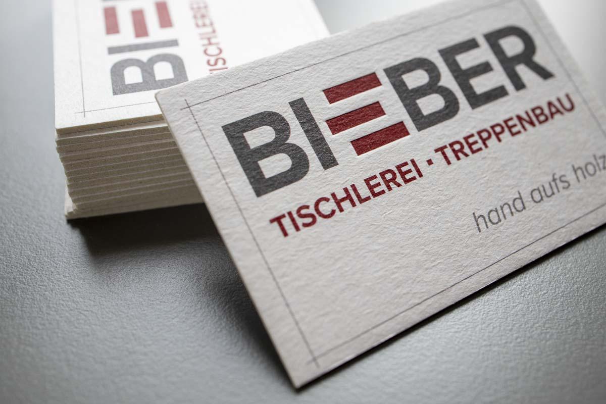 Visitenkarten Karton Holzschliffpappe mit Letterpress